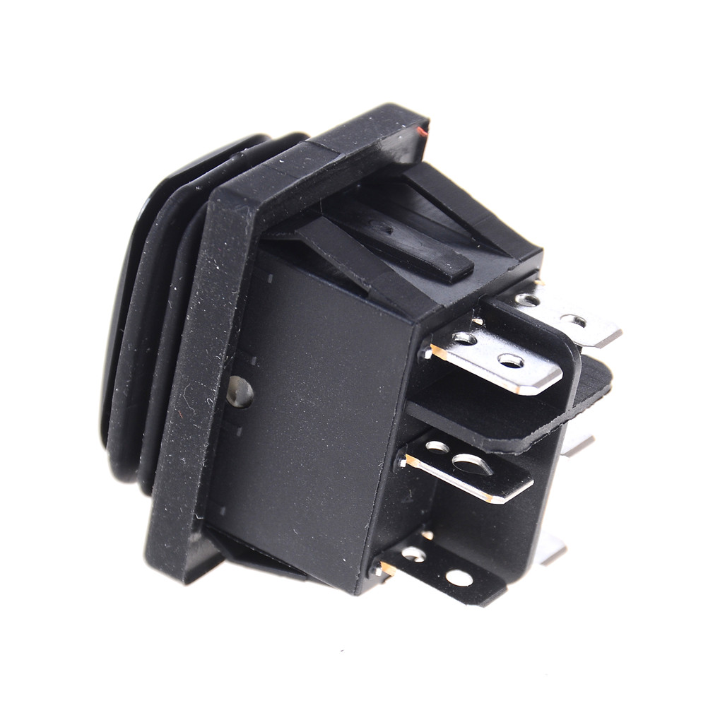 12v Waterproof 6pin Dpdt Locking Onoffon Rectangle Rocker Switch Lighted Spst Onoff 20a 12vdc Amber Black On Off Self Momentary Car Boat In Switches From Lights Lighting