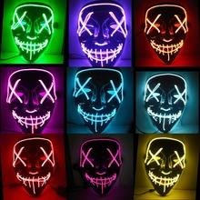 Hot Halloween Mask LED Light Up Funny Masks The Purge Election Year Great Festival Cosplay Costume Supplies Party