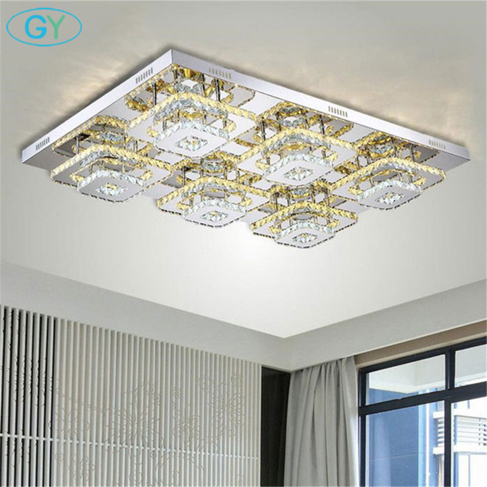 Modern 144W L103*W67cm LED Crystal Ceiling Lights rectangle led Ceiling Lamp Fixture luminaria Bedroom Indoor Home Decoration