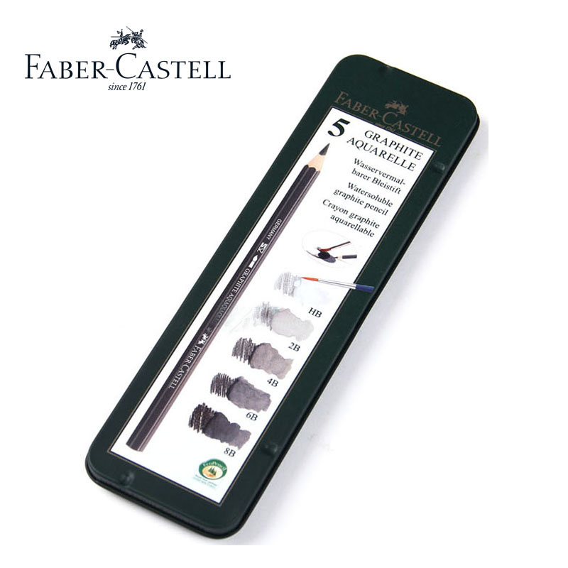 faber castell water-soluble pencil sketch 5pcs green iron boxed HB 2B 4B 6B 8B купить