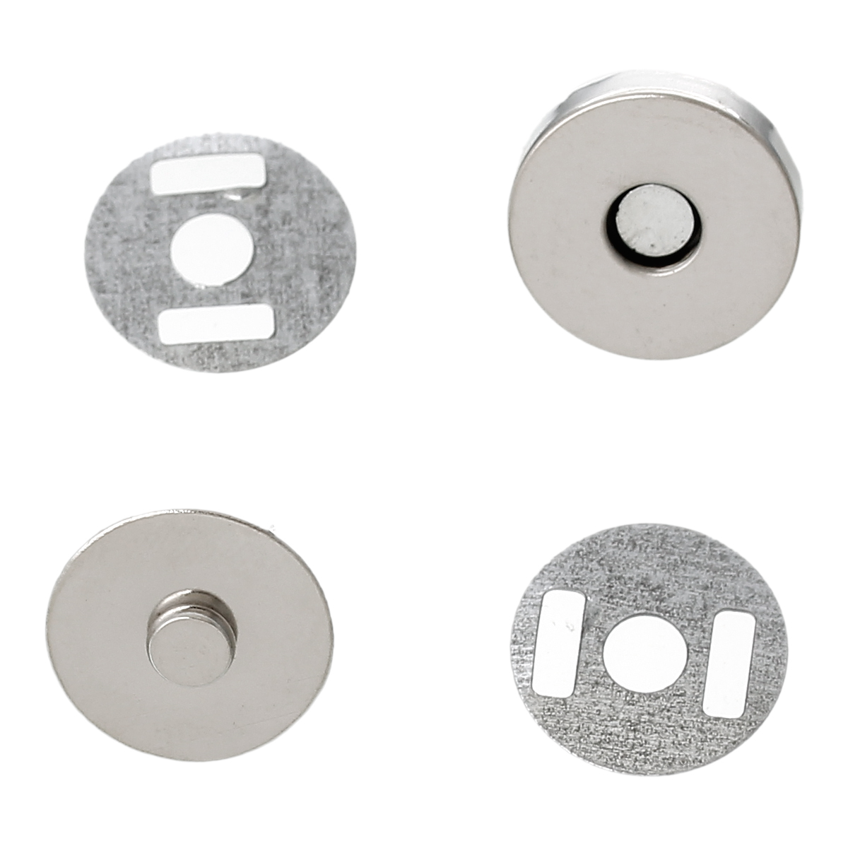 DoreenBeads 20 Sets Dull Silver Color Magnetic Purse Snap Clasps/ Closure For Purse Handbag 14mm(4/8