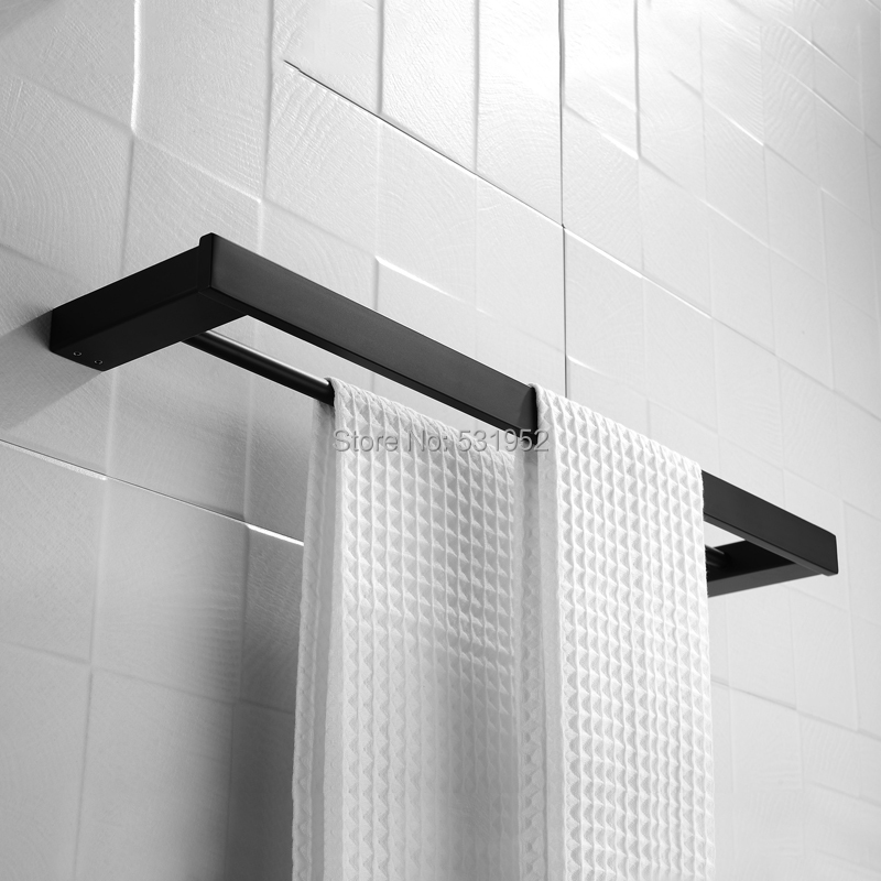 60CM Matte Black Bath Towel Shelves Double Rails Wall Mounted Towel Holder Stainless Steel Towel Racks 24 Inch