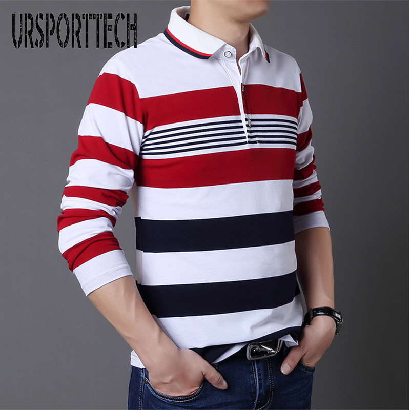 2018 Autumn And Winter Season Men's Long-Sleeved Striped Lapel   Polo   Shirt To Make The Necessary Korean Casual Size 5XL