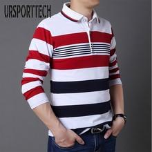 URSPORTTECH Spring Autumn mens polo shirt men 2019 Brands Cotton Striped Lapel long sleeve shirts polos Plus Size 5XL