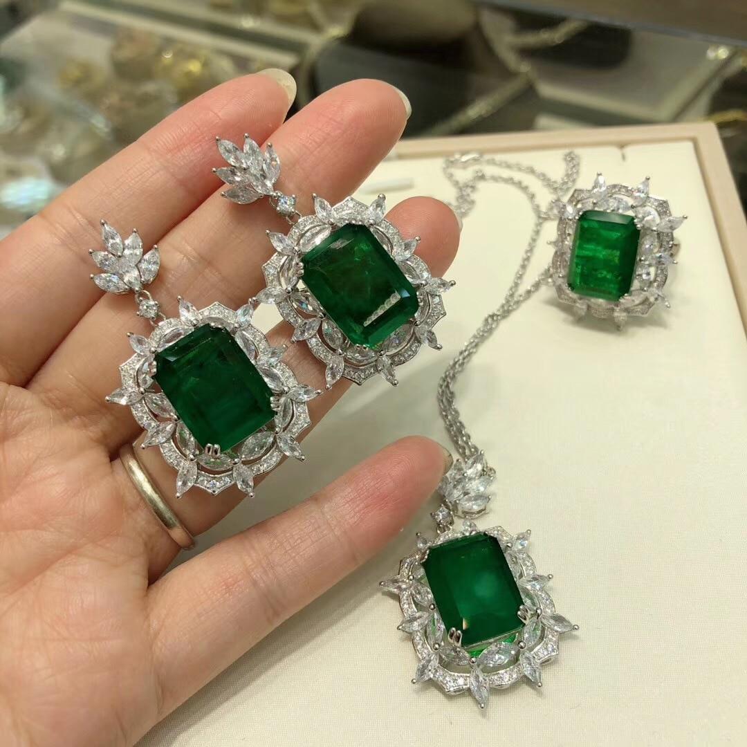 Boucles d'oreilles émeraude en argent sterling S925 haut de gamme cadeau saint valentin fiançailles de mariage rétro belles boucles d'oreilles bijoux royaux