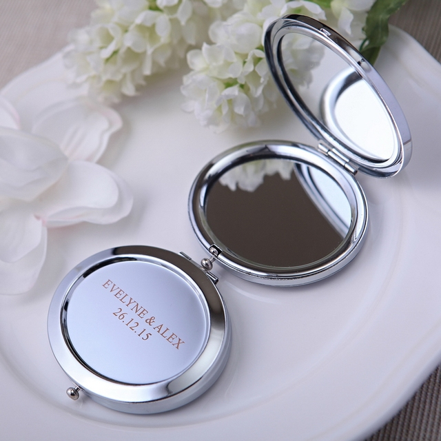 24Pcs Customized Round Make Up Mirror With Purse Bag Unique Personalized Wedding Party Gifts Birthday
