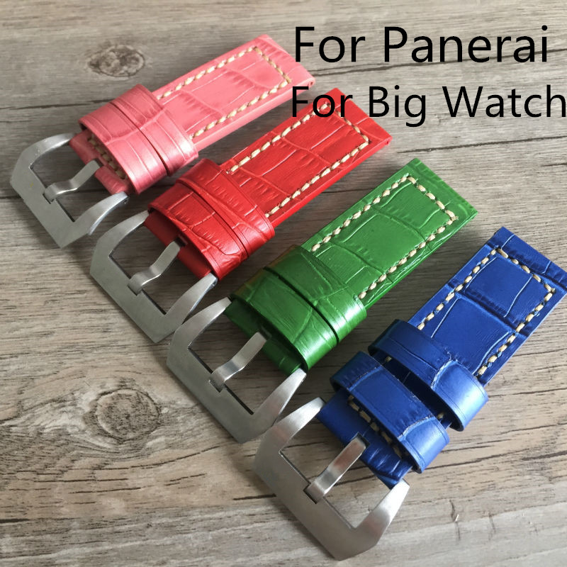 New Arrive personality 24mm*24mm Pink Red Green Blue Leather Strap Watchband Bracelet For PAM and Big Watch With Buckle Clasp lukeni 24mm camo gray green blue yellow silicone rubber strap for panerai pam pam111 watchband bracelet can with or without logo