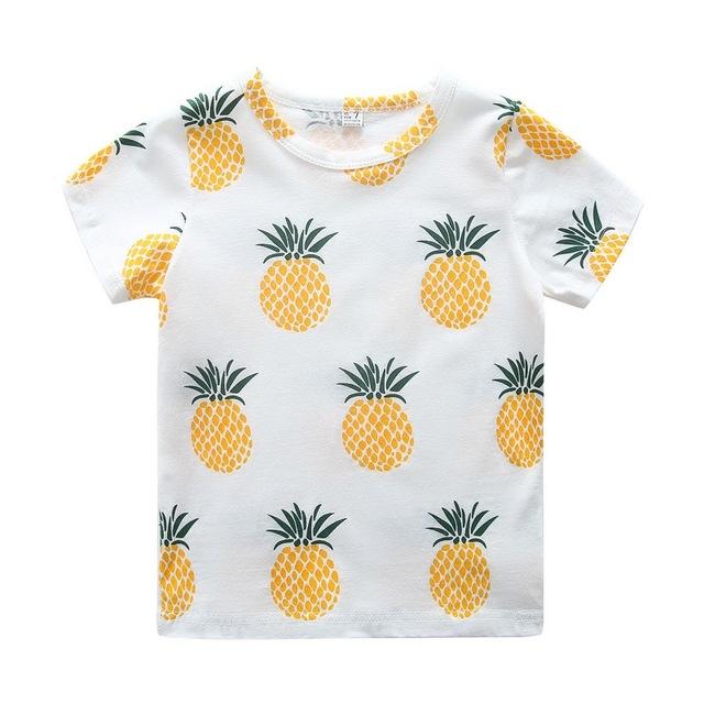 Caçoa o Tshirt Do Bebê Menina Roupas de Verão 2016 meninos T Shirt Crianças Roupas Crianças carros dos desenhos animados de morango abacaxi Impressão Meninas Tees