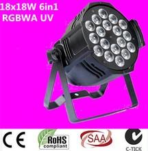 Dj éclairage 18×18 w rgbwa uv 6in1 led par la lumière En Aluminium coque en alliage