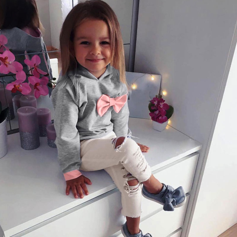 Baby Girls Clothes Set 2PCs Long Sleeve Hoodie Tie Bow Tops+Pants Kids Winter Clothes Children clothing set roupas menina 2017 new kids clothes girls kitty clothing minnie sets baby cotton costumes children girl pajamas set roupas conjunto menina