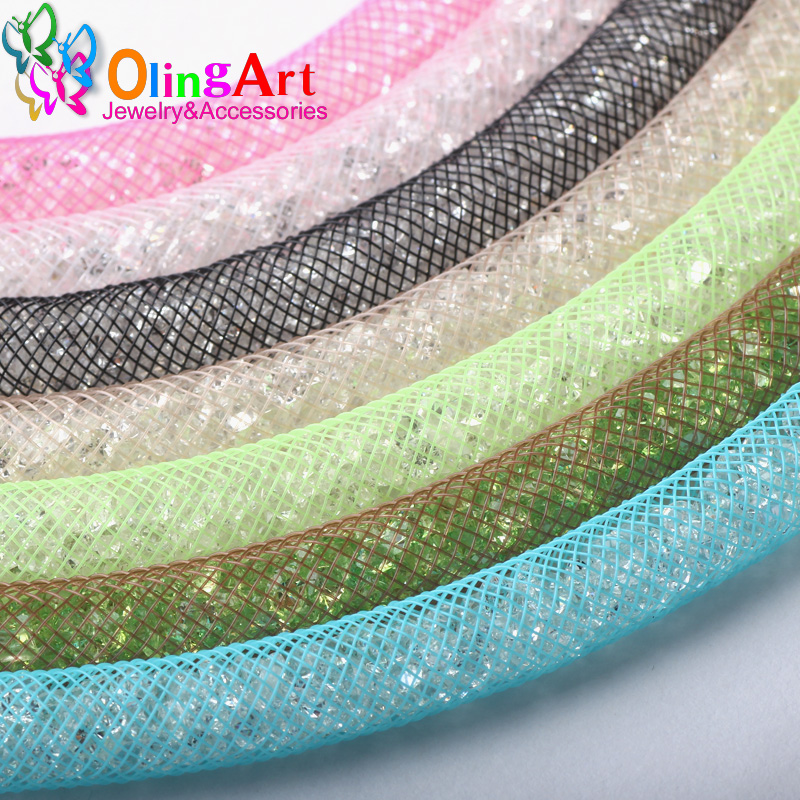 OlingArt 8mm 5M/lot wholesale Colorful Mesh Bracelet jewelry DIY fitting With Crystal stones Filled necklace choker 2017 New