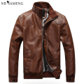 2017 New Fashion Male Leather Jacket Plus Size M-XXXL  Black Brown Mens Mandarin Collar PU Coats 13M0719