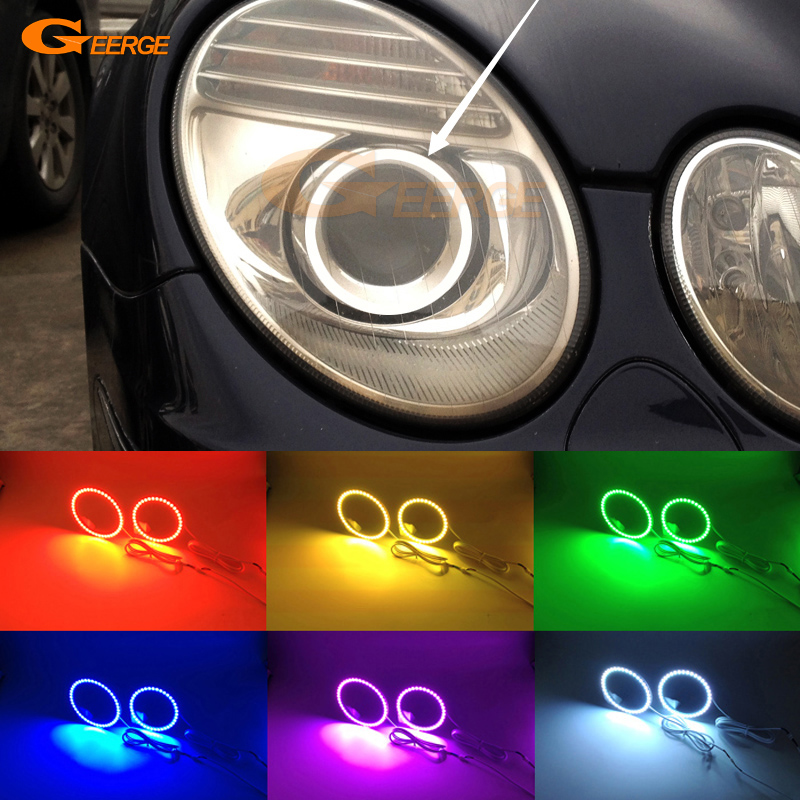 For Mercedes Benz e class w211 E200 E220 E270 E280 E320 E420 CDI 2003-2009 Multi-Color Ultra bright RGB LED Angel Eyes kit цены