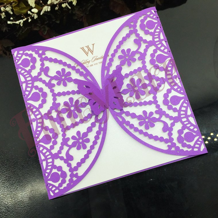 Hot Sale Laser cut Butterfly wedding invitations sets, Flower ...