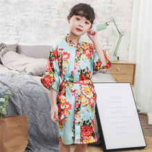 Kids Silk Rob Baby Bath Robes Nightgown Little Girls Flower Printing Kimono Childrens Pajamas Bathrobes 2019 Spring Autumn