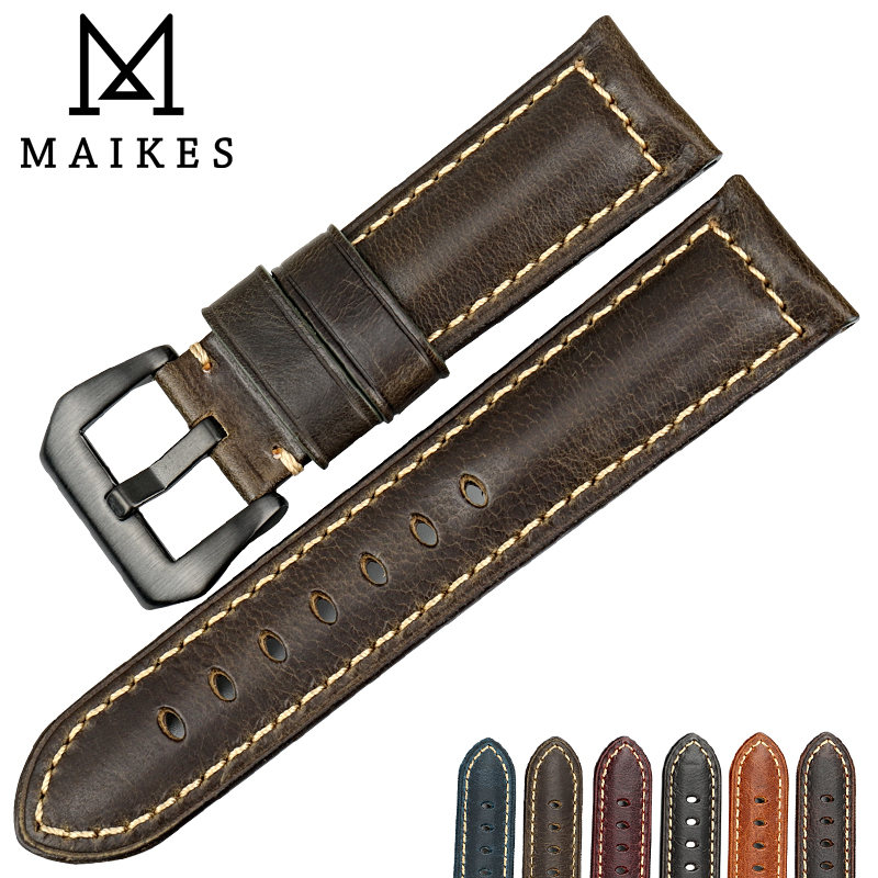 MAIKES New design watchbands Green genuine leather watch strap 22 24 26mm handmade watch band with black clasp for Panerai maikes 18mm 20mm 22mm watch belt accessories watchbands black genuine leather band watch strap watches bracelet for longines