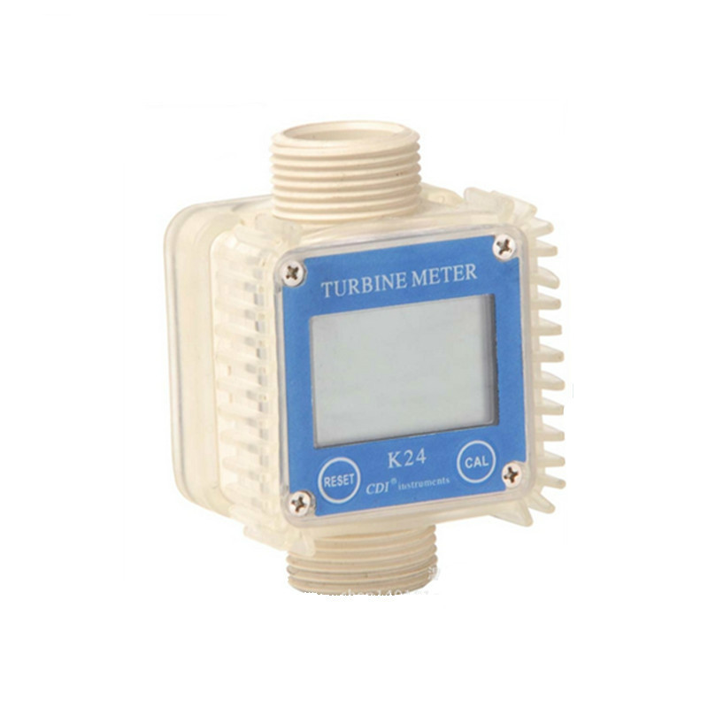 Digital LCD K24 Flow Meter Turbine Diesel Fuel Flow Tester for Chemicals Water Sea Liquid Flow Meters Measuring Tools