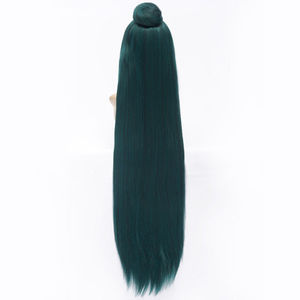 Image 3 - 100cm Long Dark Green Sailor Moon Sailor Pluto Meiou Setsuna Cosplay Wig With Detachable Bun Synthetic Hair Wigs + Wig Cap