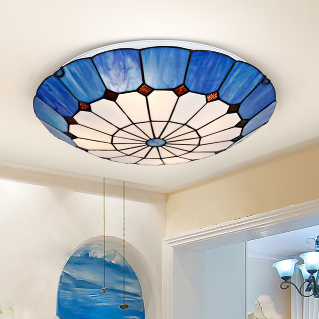 mediterranean style lighting. Tiffany Design Ceiling Lights Living Room Mediterranean-style Personalized Stained Glass Lamp Blue Umbrella Mediterranean Style Lighting O