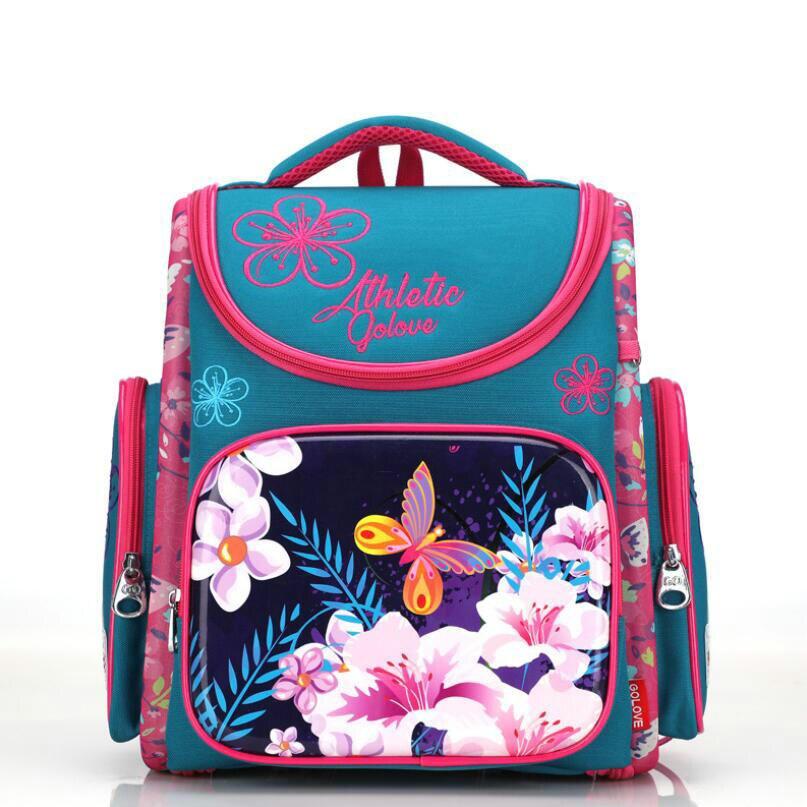 2018 Brand New Girl School Bags 3D Cute Flower Pattern Waterproof Orthopedic Backpack Schoolbag Mochila Infantil Blue Purple