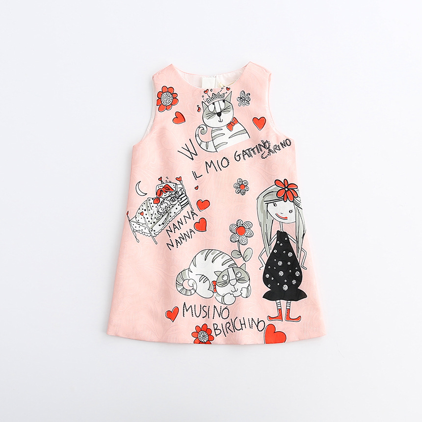 5c93ba7eab DKDGNY 2018 Girls Cute Cartoon Cats Print Dress Sweet Baby Spring Autumn  Holiday Party Dress Western Fashion Classic Dress-in Dresses from Mother   Kids  on ...