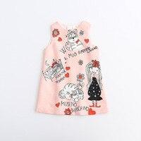 Dkdgny 2018 niñas lindo gatos de dibujos animados dulce bebé primavera otoño vestido de fiesta moda occidental vestido clásico