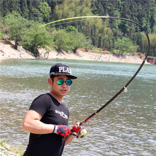 FDDL super hard retractable fishing rod 2.1-3.6M Carbon Spinning Pole Sea Fishing Stick Metal Ring