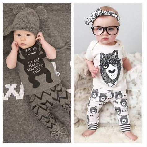 2016 Summer Style Infant Clothes Baby Clothing Sets Boy Cotton little Monsters Short Sleeve 2pcs Baby Boy Clothes