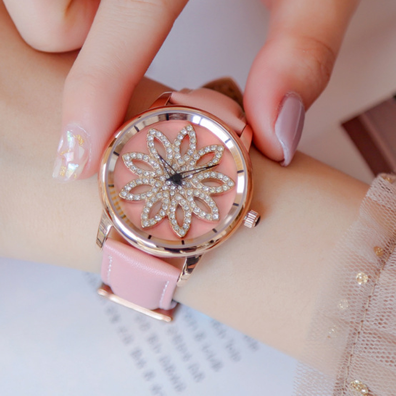 Woman Watch Fashion ladies Quartz watches Rose Gold Shell Rotating Dial Leather Bracelet Watch Top brand luxury relogio feminino fashion brand v6 quartz women watches rose gold steel thin case classic simple dial leather strap ladies watch relogio feminino