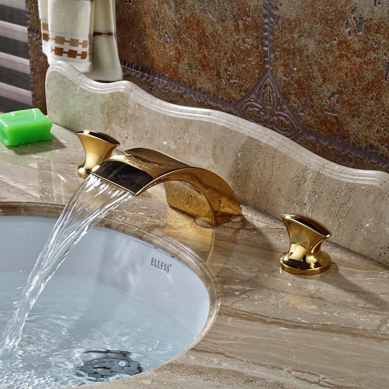 Deck Mount Widespread Golden Waterfall Basin Sink Faucet Deck Mount 3 Holes Bathroom Mixer Taps цена