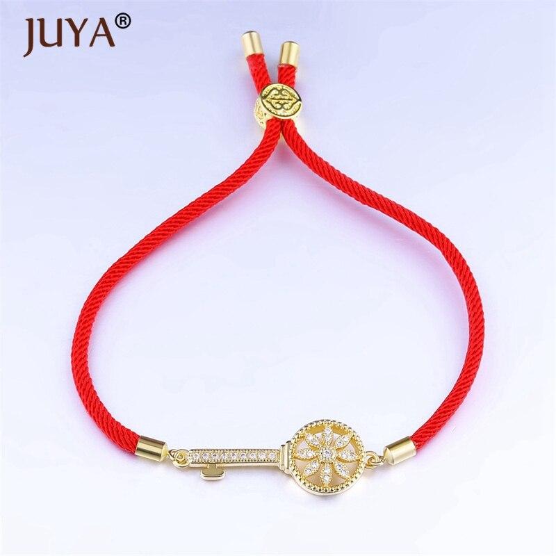 New Red rope bracelet women fashion jewelry high quality copper zircon Key Charm bracelets & bangles Adjustable braslet