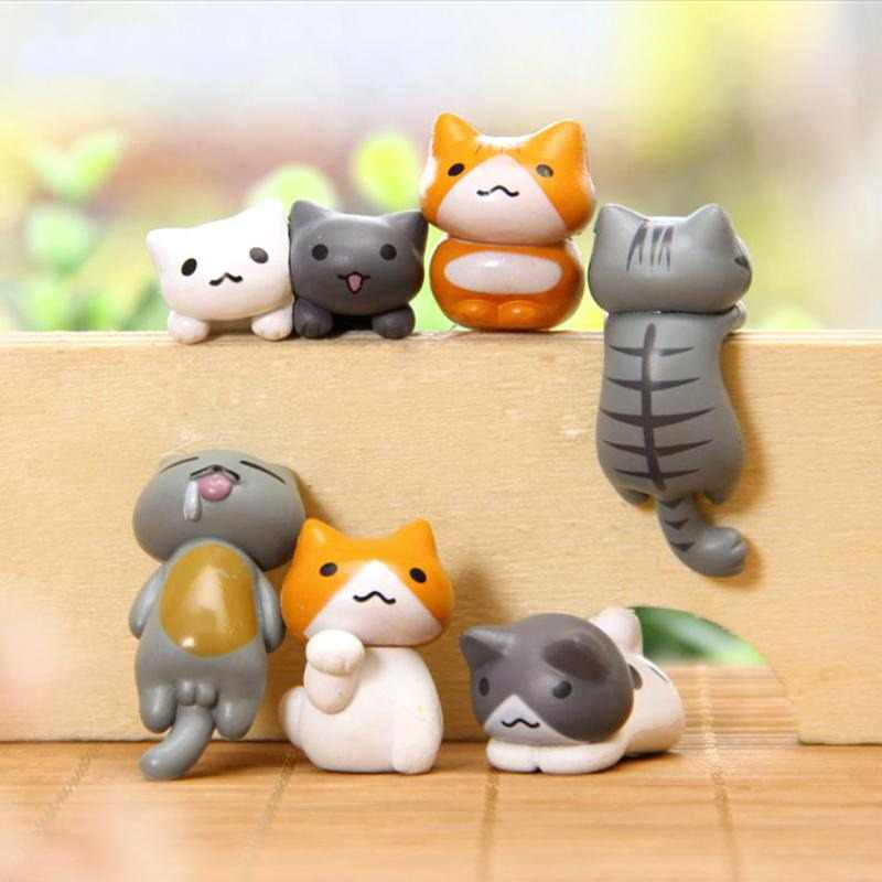 6pcs Japan Kawaii Cat Miniature Terrarium Figurines Ornaments For Home Decoration Creative Japanese Anime Pvc Figure Home Decor