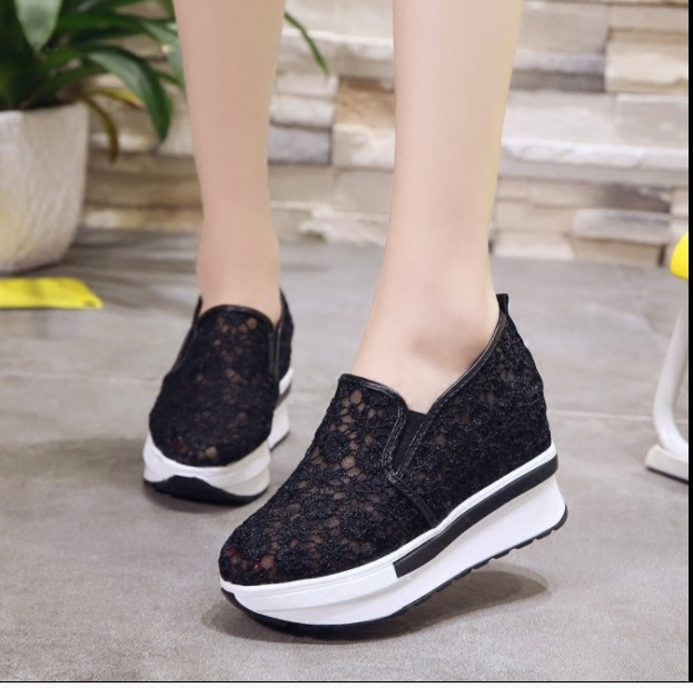 2019 Wedges Canvas Shoes For Woman Platform Vulcanized Air Mesh Shoes Hollow Lace-Up Hidden Heel Height Increasing shoes Casual 2