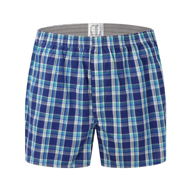 2019 Classic Basics Men Panties Cotton Underwear Boxers Plaid Shorts Soft Large Arrow Pants At Home Underwear Men Over Size 6XL
