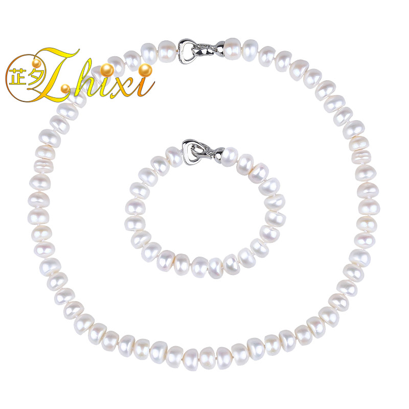 ZHIXI Pearl Jewelry Sets For Women Natural Freshwater 9-10mm Pearl Necklace Bracelet White Stone Beads Anniversary Gift T205ZHIXI Pearl Jewelry Sets For Women Natural Freshwater 9-10mm Pearl Necklace Bracelet White Stone Beads Anniversary Gift T205