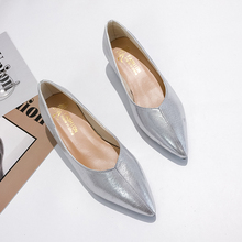 купить Silver Womens Shoes Flats Pointed Toe Autumn Shoes Women 2019 Ballerinas Shoes For Women Slip On Black Shoes Low Heels Shoes дешево