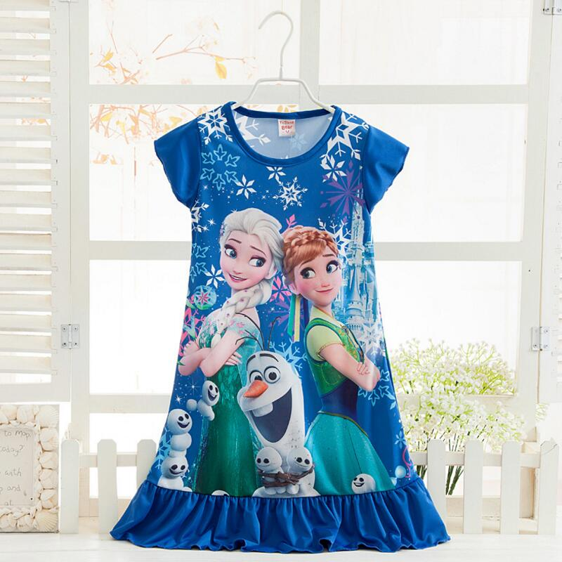 Anna Elsa Girls Dress Snow Queen Princess Dresses for Girls Night Gown Pajamas Baby Dress Kids Sleepwear Pyjamas Clothes 8