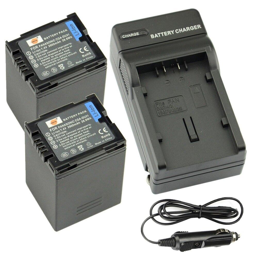 DSTE 2PCS CGA-DU31 Rechargeable Battery + Travel and Car Charger for Panasonic DZ-GX20 GX25M MV350 MV380 MV550 Camera 1pcs cga s006 cga s006ebattery charger car charger for panasonic cgr s006a 1b bp dc5u cgr s006e