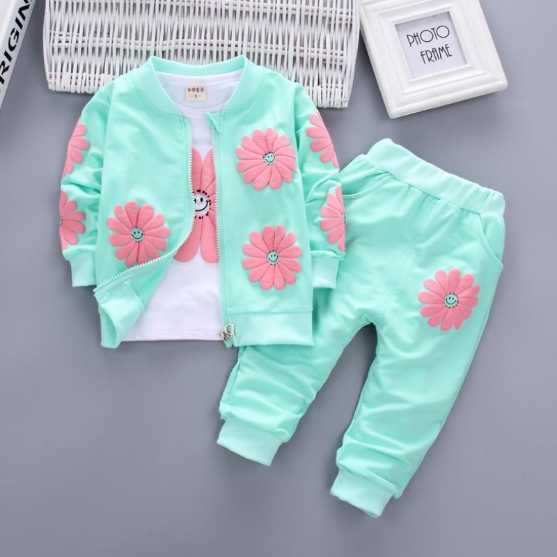 2021 Real Roupas Infantis Children's Garment Spring And Autumn New Girl Pure Cotton Printing Three-piece Child Suit 0-4y 1
