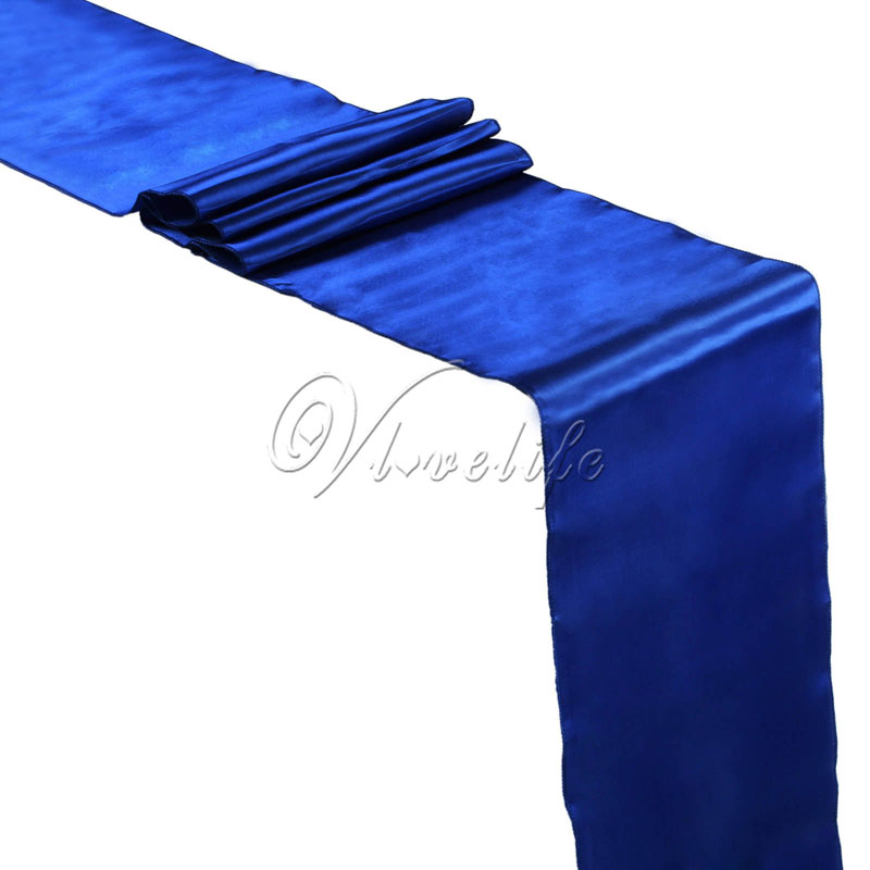 5PCS New Royal Blue Satin Table Runners 12
