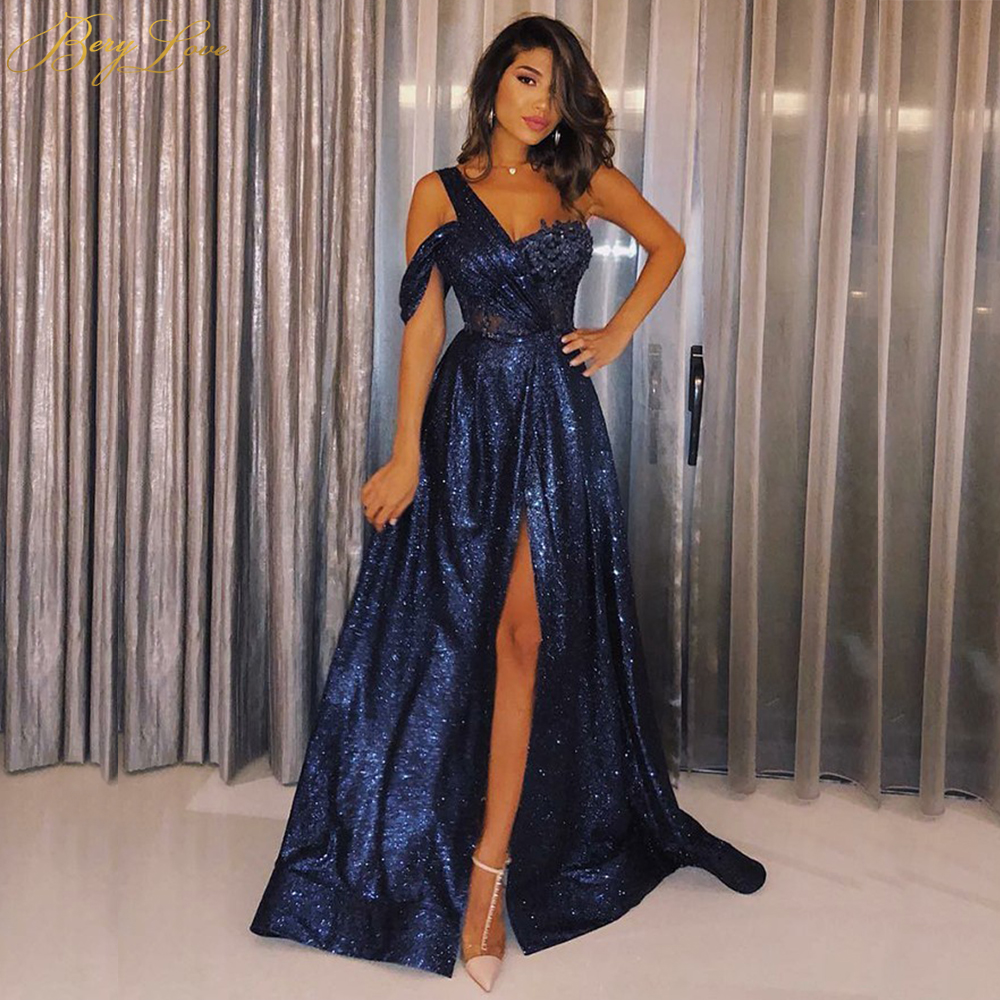 Elegant Dress Sequin Glitter Sparkle Formal Blue One-Shoulder Side-Sleeve Long Navy Vestido title=