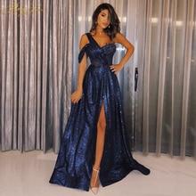 Shiny Navy Blue Sequin Prom Dress 2019 Glitter Sparkle One Shoulder Side Sleeve Long Party Formal Elegant Vestido