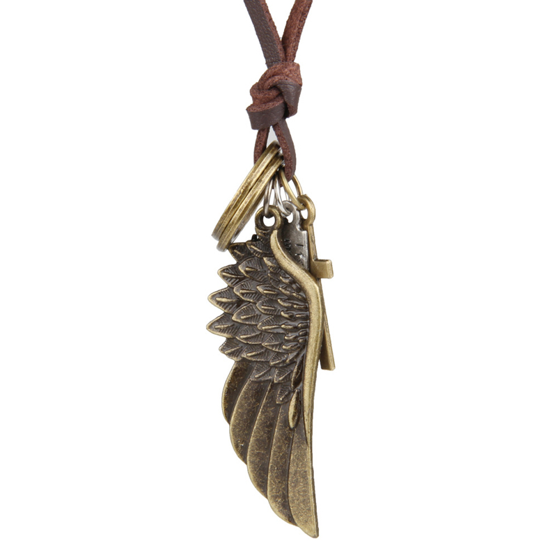 NIUYITID Feather Angel Wings Necklace & Pendants Vintage Brown Leather Neckless For Women Men Jewelry Boys Necklace Three Style (9)