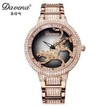 2016 горячих женщин платья Австрийский горный хрусталь часы моды случайные кварцевые часы Leopard стали наручные часы Роскошные Davena 60089 часы