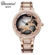 2015 heta kvinnor kläder österrikiska rhinestone klockor mode casual kvarts klocka Leopard stål armbandsur Luxury Davena 60089 klocka