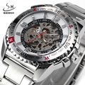 SHENHUA Brand Men Skeleton Mechanical Watch Sport Watches Fashion Business Military Automatic Watch Full Steel Relogio Masculino