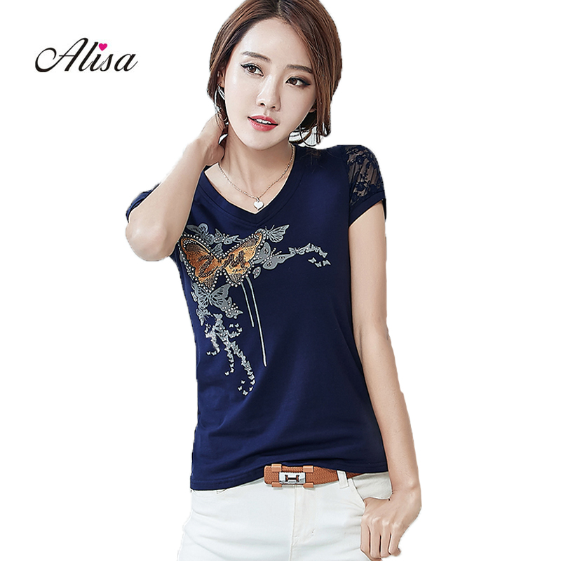2018 New Spring Printed Nailed Woman T -shirt Shor Sleeve V-neck Butterfly Lace Patchwork Plus Size Kawaii Bicycle Tshirt Women