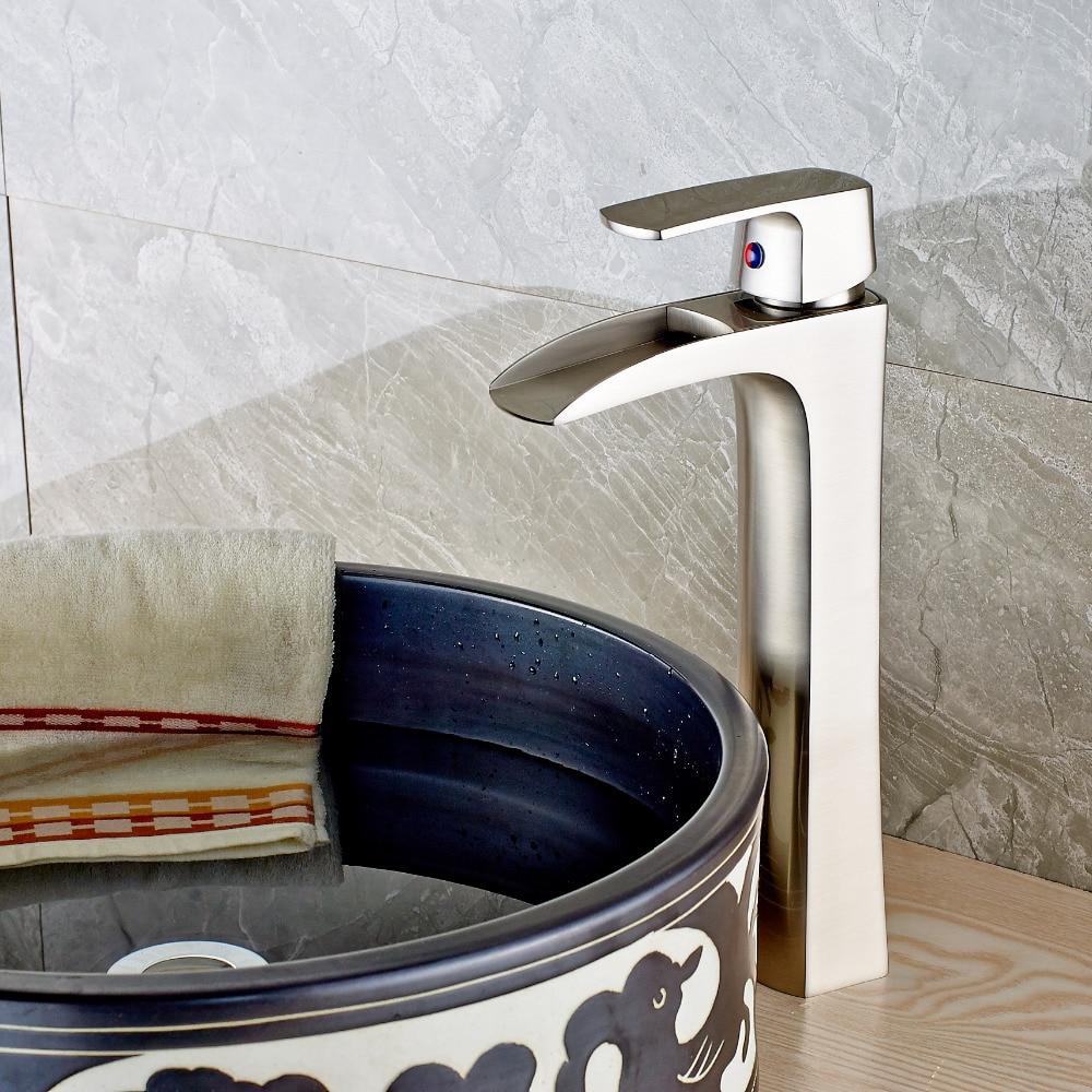 Uythner de luxe cascade pont monté nickel brossé salle de bains évier bassin robinet cascade mitigeur simple trou mitigeur