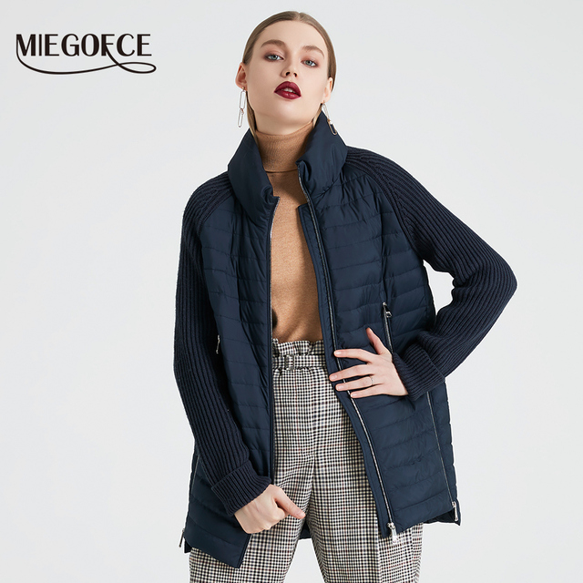 MIEGOFCE 2019 Spring And Autumn Women's Coat with Stand Collar Short Coat Women's Thin Windproof Knitted Sleeve Warm Jacket
