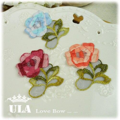 embroidery appliques  DIY Decoration Lace Fabric Paste Decoraive Cloth flower Applique wedding appliques rose 3color 45pcs/lot